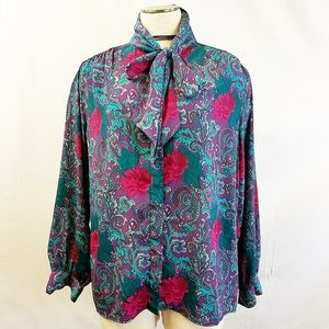 Vintage Alfred Dunner Paisley Rose Neck Bow Blouse